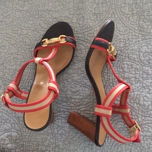 Talbots Blue and Red Sandal Heels 7 1/2 B Like New